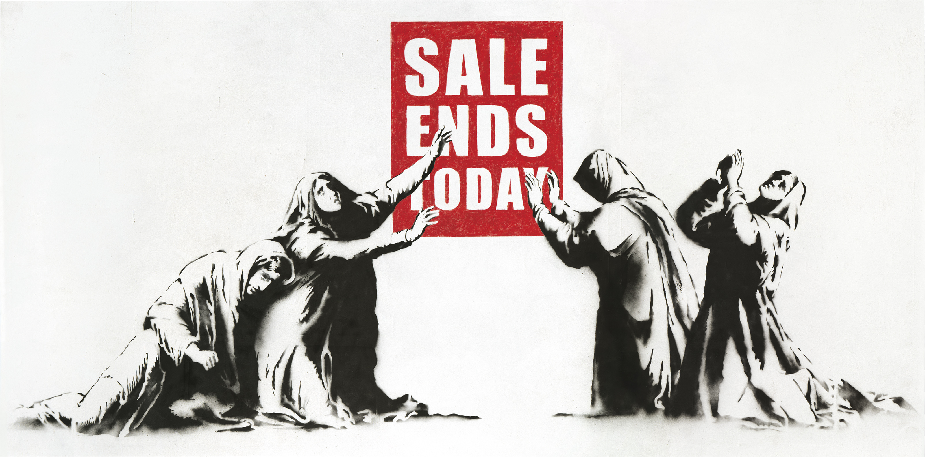 Banksy, Sale Ends Today, 2006.Oil on canvas. (84 x 168 in) 213.4 x 426.7 cm. Sold for HK$47,050,000 on 24 May 2021 at Christie's in Hong Kong