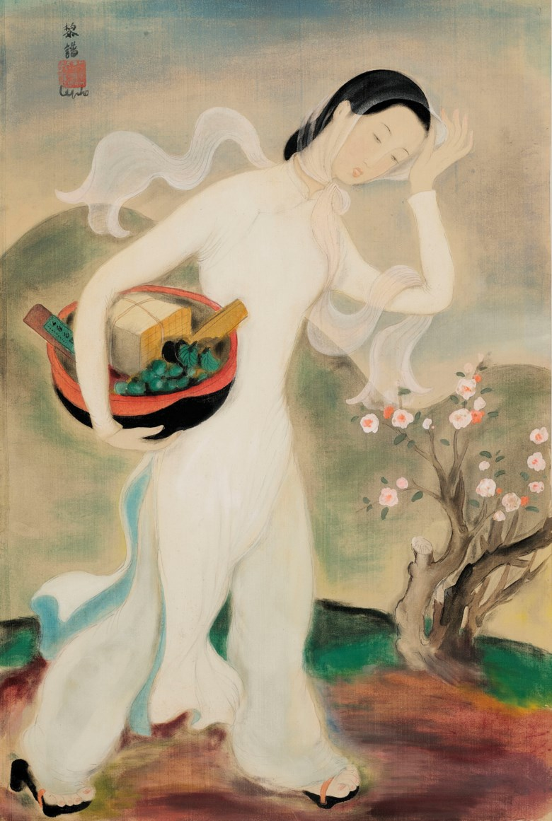 LE PHO (1907-2001), La femme au panier (Lady with a Basket). ink and gouache on silk. 44.5 x 29.5 cm. (17 12 x 11 58 in.). Painted circa 1938. Sold for HK$3,750,000 on 25 May 2021 at 20th and 21st Century Art Morning Sale