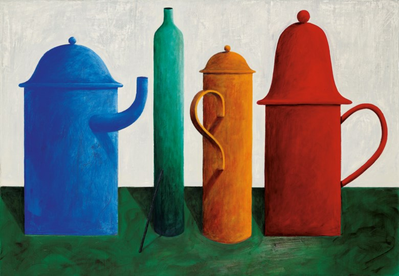 NICOLAS PARTY (B.1980), Still Life with an Empty Bottle. oil on canvas. 90 x 130 cm. (35 38 x 51 18 in.). Painted in 2013. Sold for HK$9,250,000 on 25 May 2021 at 20th and 21st Century Art Afternoon Sale
