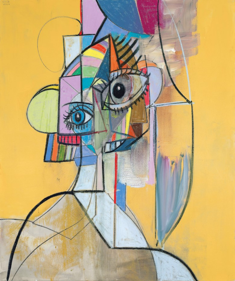 GEORGE CONDO (B. 1957), Multicolored Portrait. acrylic, charcoal and pastel on linen. 128.3 x 108 cm. (50 12 x 42 12 in.). Painted in 2014. Sold for HK$22,450,000 on 25 May 2021 at 20th and 21st Century Art Afternoon Sale