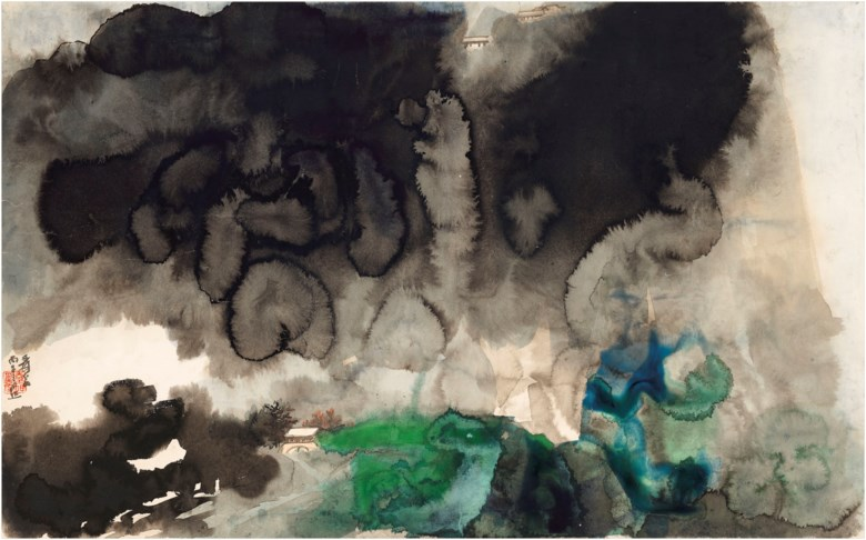 Zhang Daqian (1899-1983), Misty Void and Hazy Rains over the Hill. Scroll, mounted and framed, ink and colour on paper. 59.2 x 95 cm. (23 14 x 37 38 in.). Estimate HK$3,000,000 - 4,000,000. Offered in Fine Chinese Modern and Contemporary Ink Paintings on 27 May 2021 at Christie's in Hong Kong