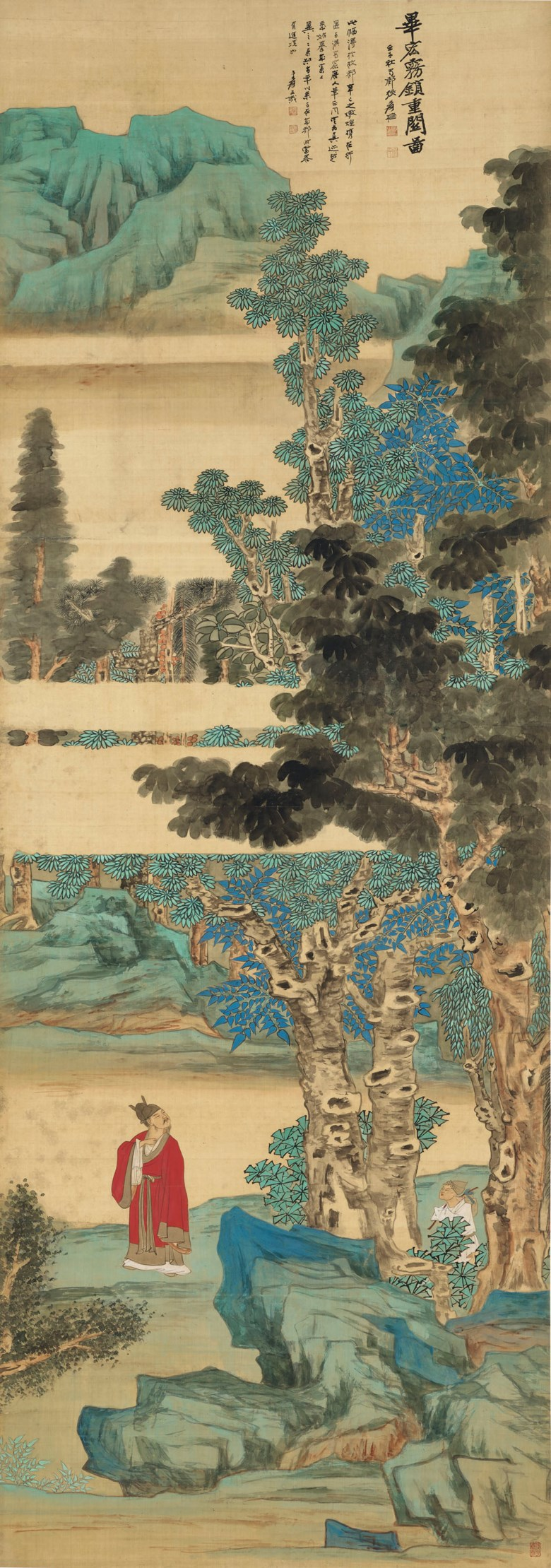 Zhang Daqian (1899-1983), Landscape Hidden in Mist After Bi Hong. Hanging scroll, ink and colour on silk. 213 x 75 cm. (83 78 x 29 12 in.). Estimate HK$18,000,000 - 28,000,000. Offered in Fine Chinese Modern and Contemporary Ink Paintings on 27 May 2021 at Christie's in Hong Kong