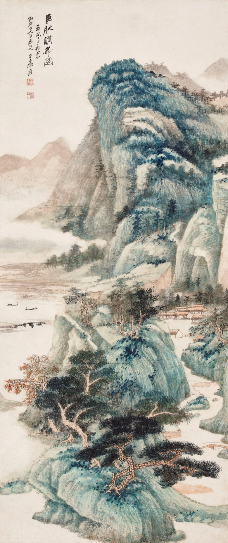 Zhang Daqian (1899-1983), Landscape after Juran. Scroll, mounted and framed, ink and colour on paper.  117.5 x 49.5 cm. (46 14 x 19 12 in.). Estimate HK$8,000,000 - 12,000,000. Offered in Fine Chinese Modern and Contemporary Ink Paintings on 27 May 2021 at Christie's in Hong Kong