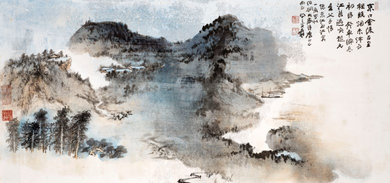 Zhang Daqian (1899-1983), Landscape of Jiangnan. Scroll, mounted and framed, ink and colour on paper. 52.5 x 110.5 cm. (20 58 x 43 12 in.). Estimate HK$3,000,000 - 4,000,000. Offered in Fine Chinese Modern and Contemporary Ink Paintings on 27 May 2021 at Christie's in Hong Kong