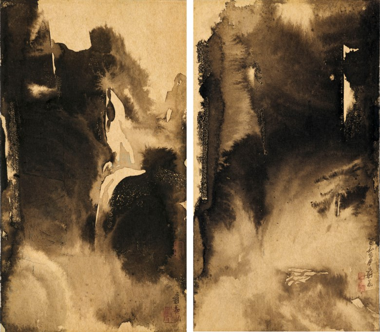 Zhang Daqian (1899-1983), Waterfall  Secluded Valley under the Clouds. A pair of scrolls, mounted on cardboard and framed, ink on gold paper