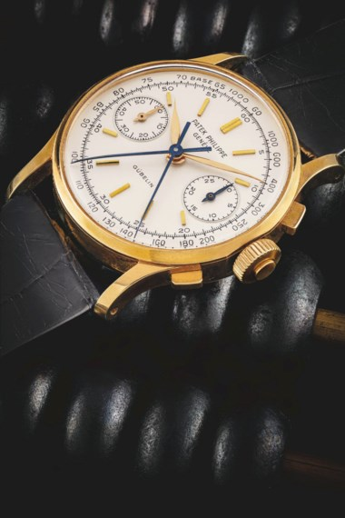 Patek Philippe. An important and only known 18k gold split seconds chronograph wristwatch, retailed by Gübelin, Ref. 1436, manufactured in 1965. Auction Record for the Reference. Sold for HK$5,500,000 on 22 May 2021 at An Exceptional Season of Watches