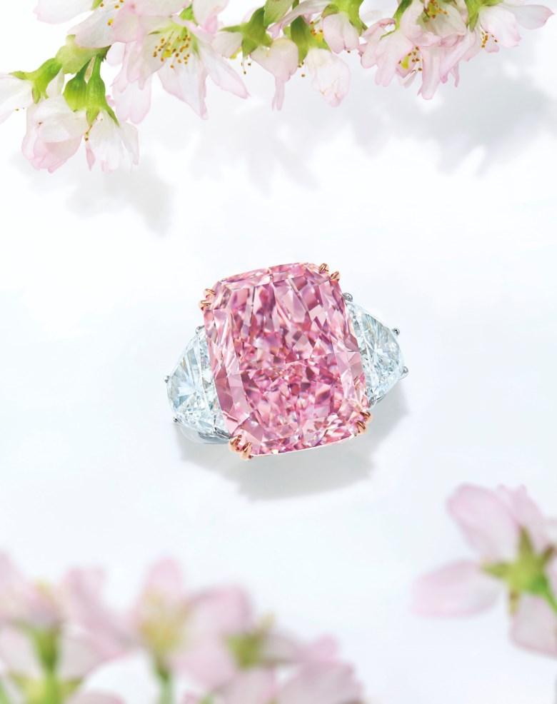 The Sakura Diamond. 15.81 carat Fancy Vivid Purple-Pink Internally Flawless Type IIa diamond ring. Sold for HK$226,275,000 on May 23 at Hong Kong Magnificent Jewels