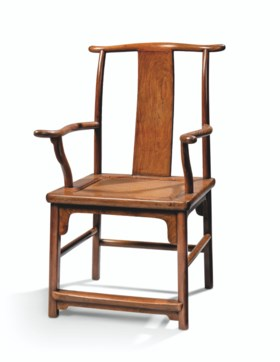 A HUANGHUALI 'FOUR-CORNER'S EXPOSED' OFFICIAL'S HAT ARMCHAIR