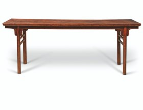 A LARGE HUANGHUALI RECESSED-LEG TABLE, PINGTOU'AN