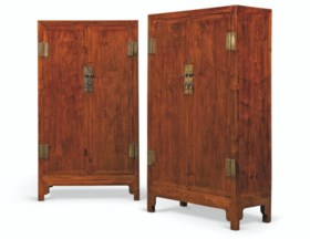 A PAIR OF HUANGHUALI SQUARE-CORNER CABINETS, FANGJIAOGUI