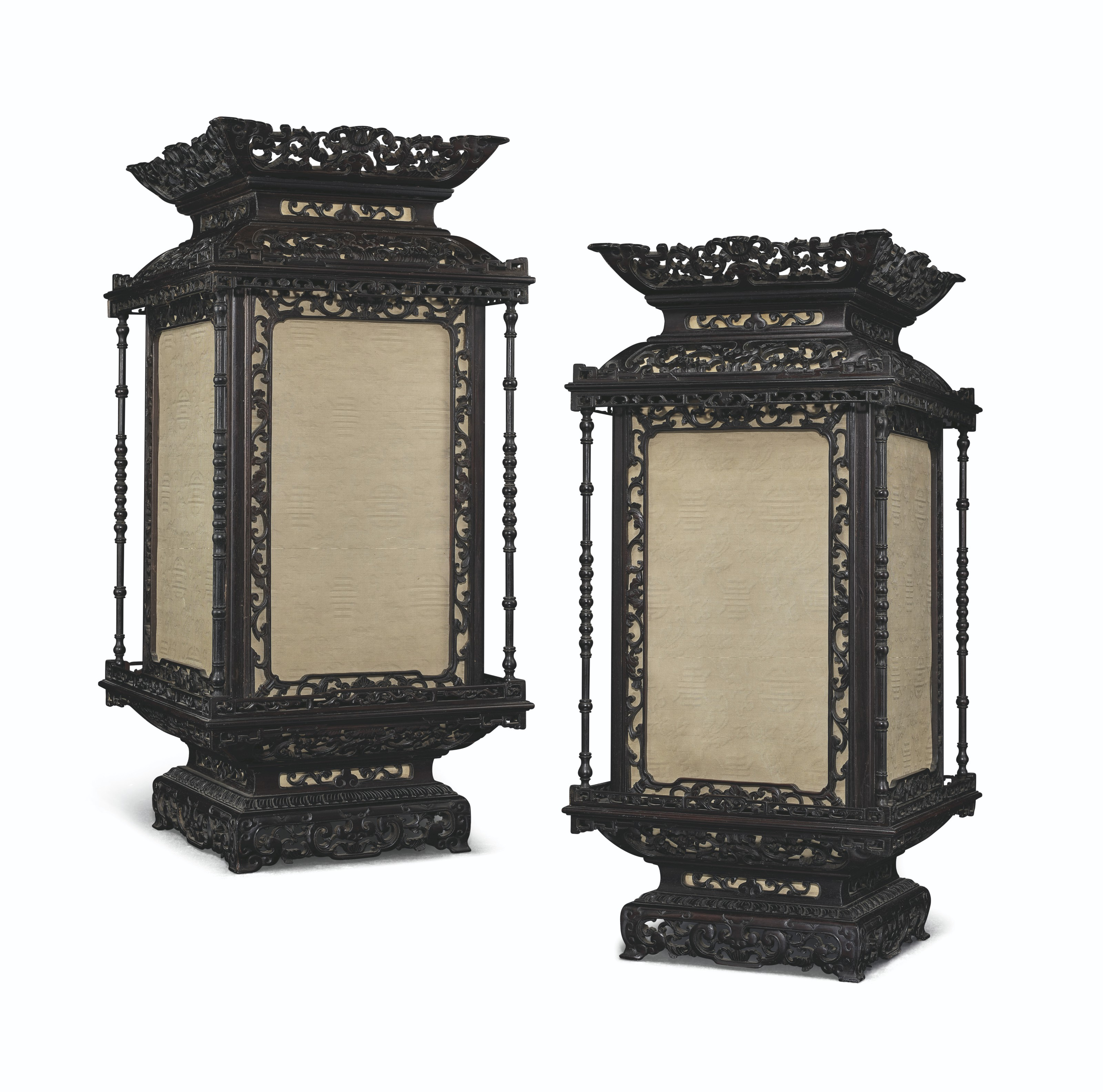 AN EXTREMELY RARE PAIR OF IMPERIAL ZITAN SQUARE LANTERNS