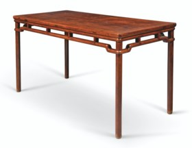 A HUANGHUALI BAMBOO-FORM CORNER-LEG PAINTING TABLE, HUAZHUO