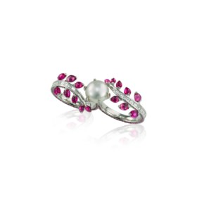 PASPALEY NATURAL PEARL, COLOURED SAPPHIRE AND DIAMOND 'VINE'