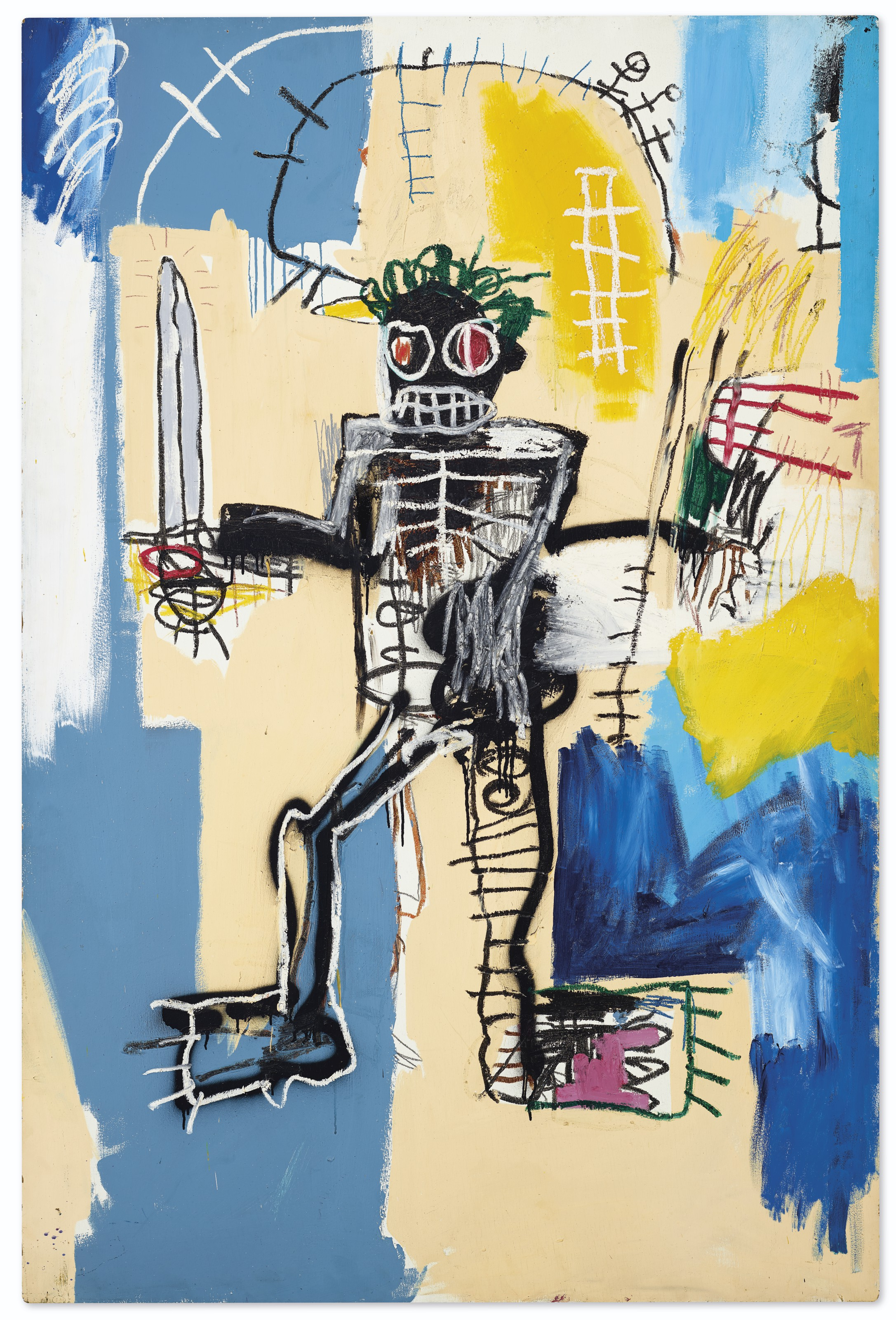Jean-Michel Basquiat (1960-1988), Warrior, 1982.Acrylic, oilstick and spray paint on wood panel. 72 x 48 in. (183 x 122 cm.). Sold for HK$323,600,000 on 23 March 2021 at Christie's in Hong Kong