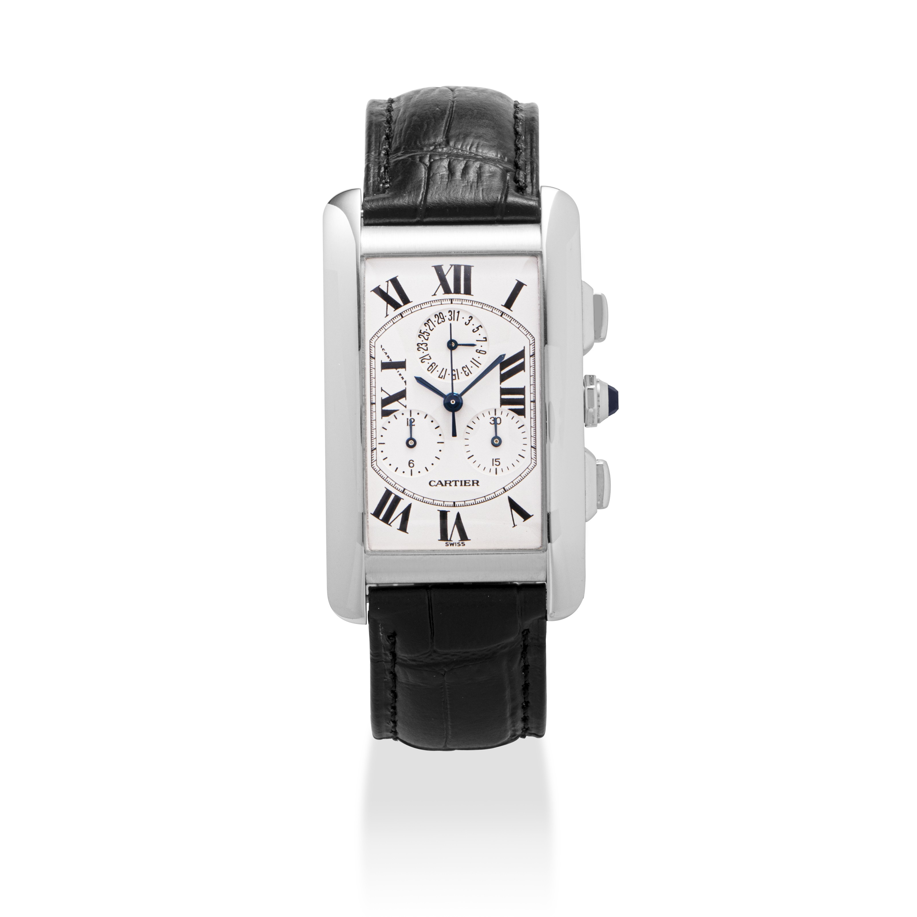 CARTIER, WHITE GOLD TANK AMERICAINE CHRONOGRAPH AND DATECARTIER, WHITE GOLD...