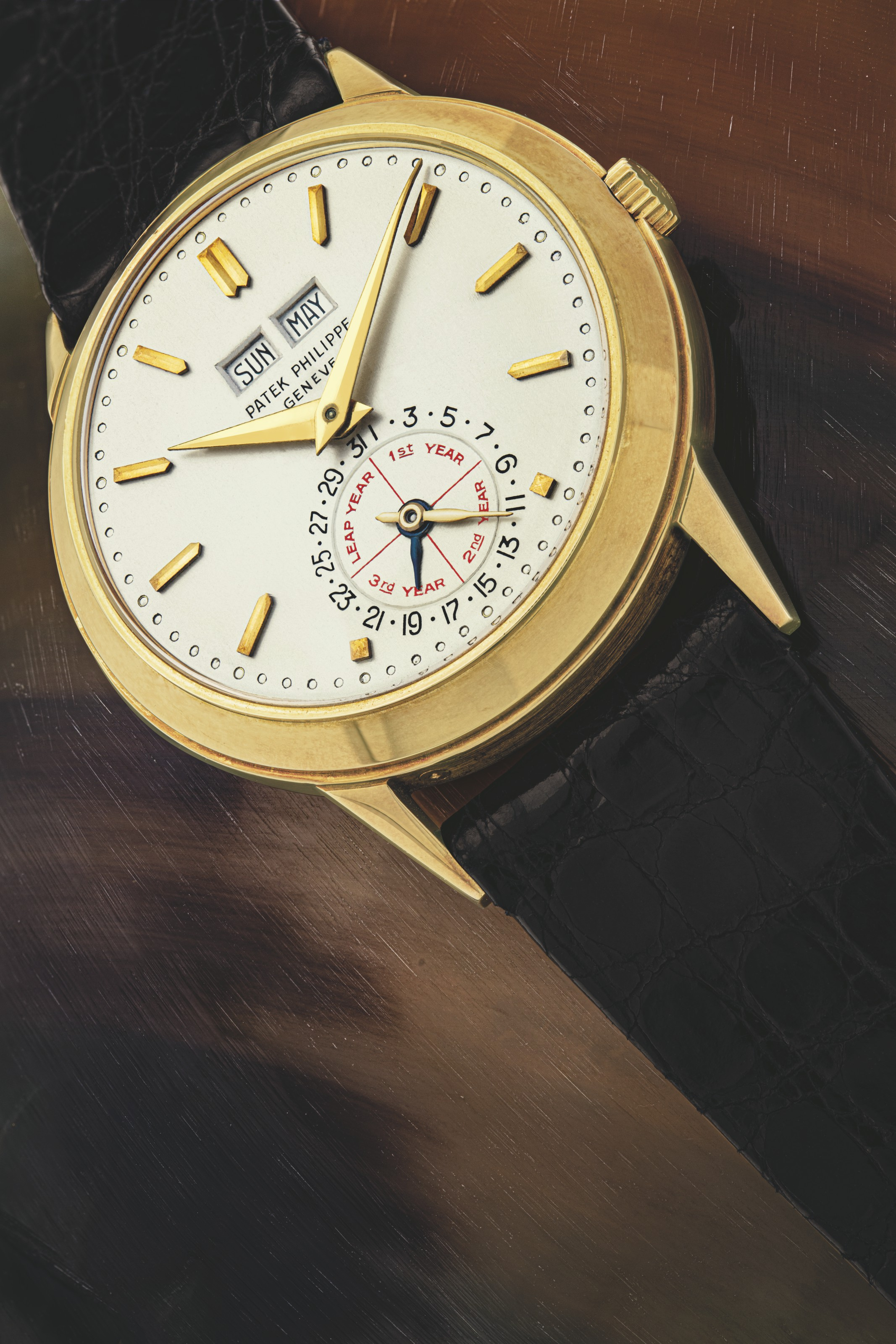 """PATEK PHILIPPE. A UNIQUE, EXCEPTIONAL AND HISTORICALLY HIGHLY IMPORTANT 18K GOLD AUTOMATIC PERPETUAL CALENDAR WRISTWATCH WITH ENGLISH CALENDAR, LEAP YEAR INDICATION AND """"NO MOON"""""""