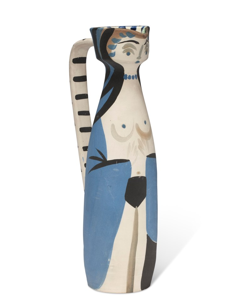 Pablo Picasso (1881-1973), Femme (A.R. 297), conceived in 1955 and executed in an edition of 100. Height 13 in (33 cm). Estimate $10,000-15,000. Offered in Picasso Ceramics Online, 3-17 May 2021 at Christie's