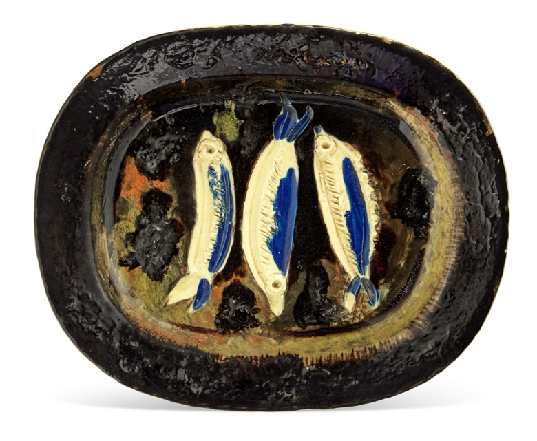 Pablo Picasso (1881-1973), Trois sardines (A.R. 34), conceived in 1948 and executed in a numbered edition of 200. Length 15¼ in (38.9 cm). Estimate $7,000-10,000. Offered in Picasso Ceramics Online, 3-17 May 2021 at Christie's