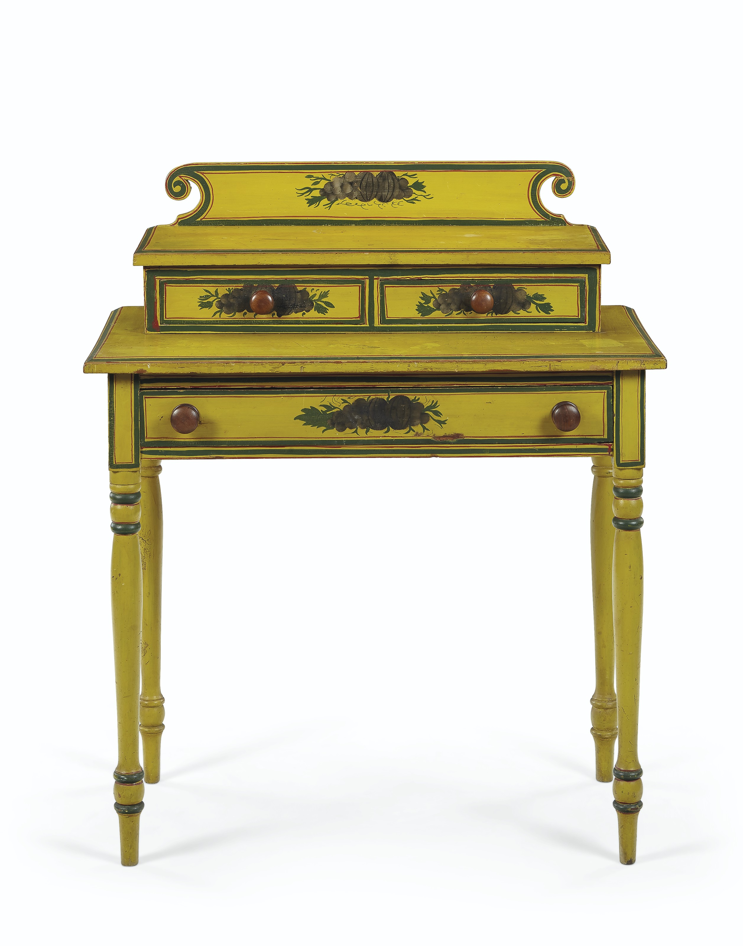 A LATE FEDERAL POLYCHROME-PAINTED DRESSING TABLE