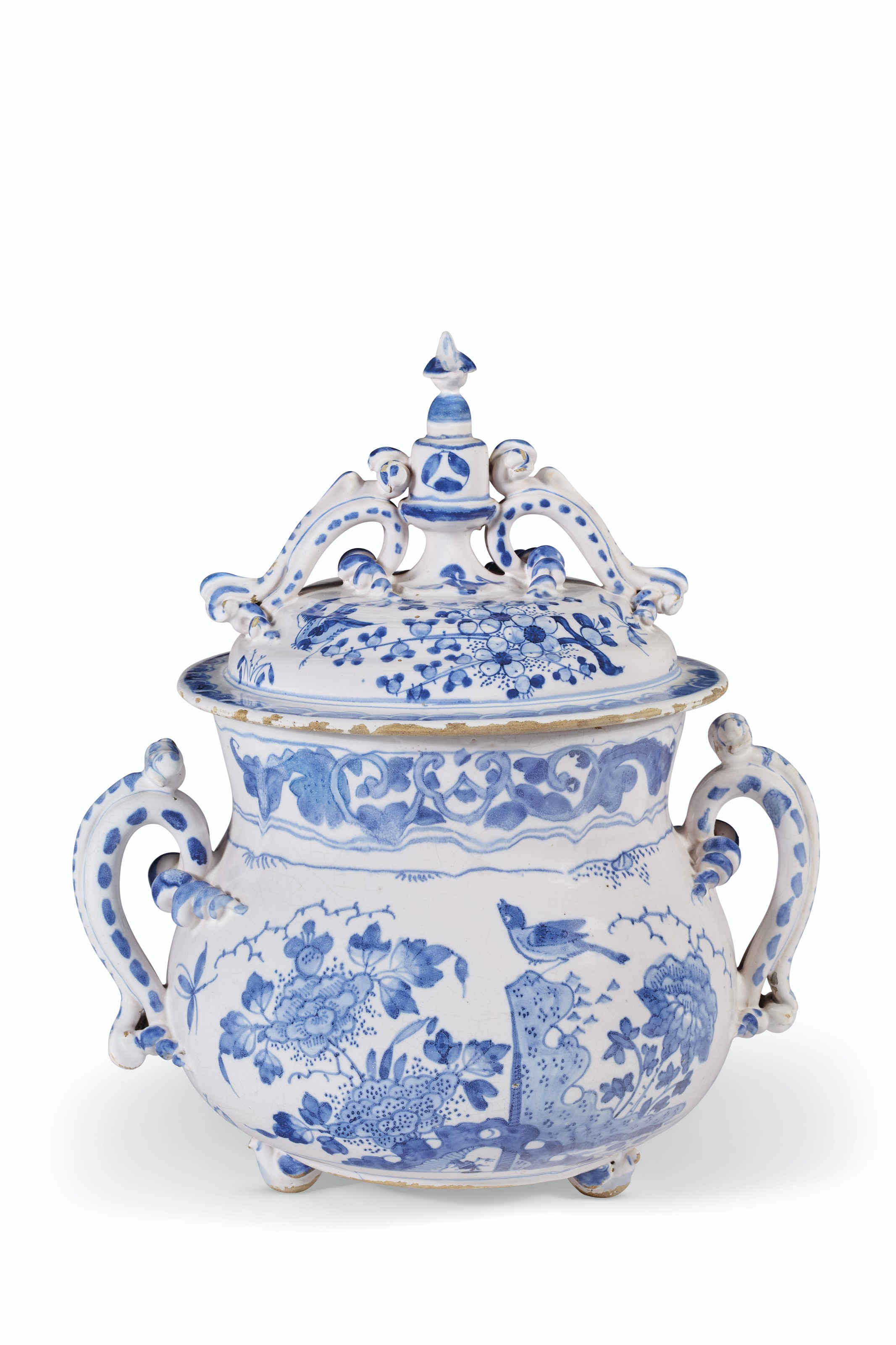 AN ENGLISH DELFT BLUE AND WHITE DATED AND INITIALED POSSET-POT AND COVER