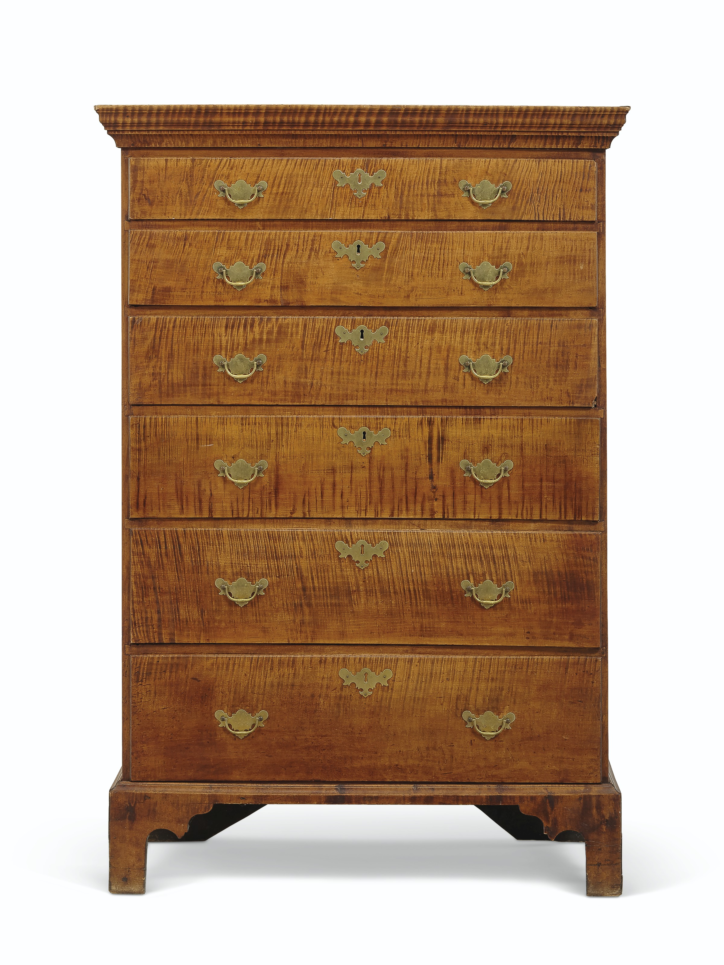 A CHIPPENDALE FIGURED MAPLE TALL CHEST-OF-DRAWERS
