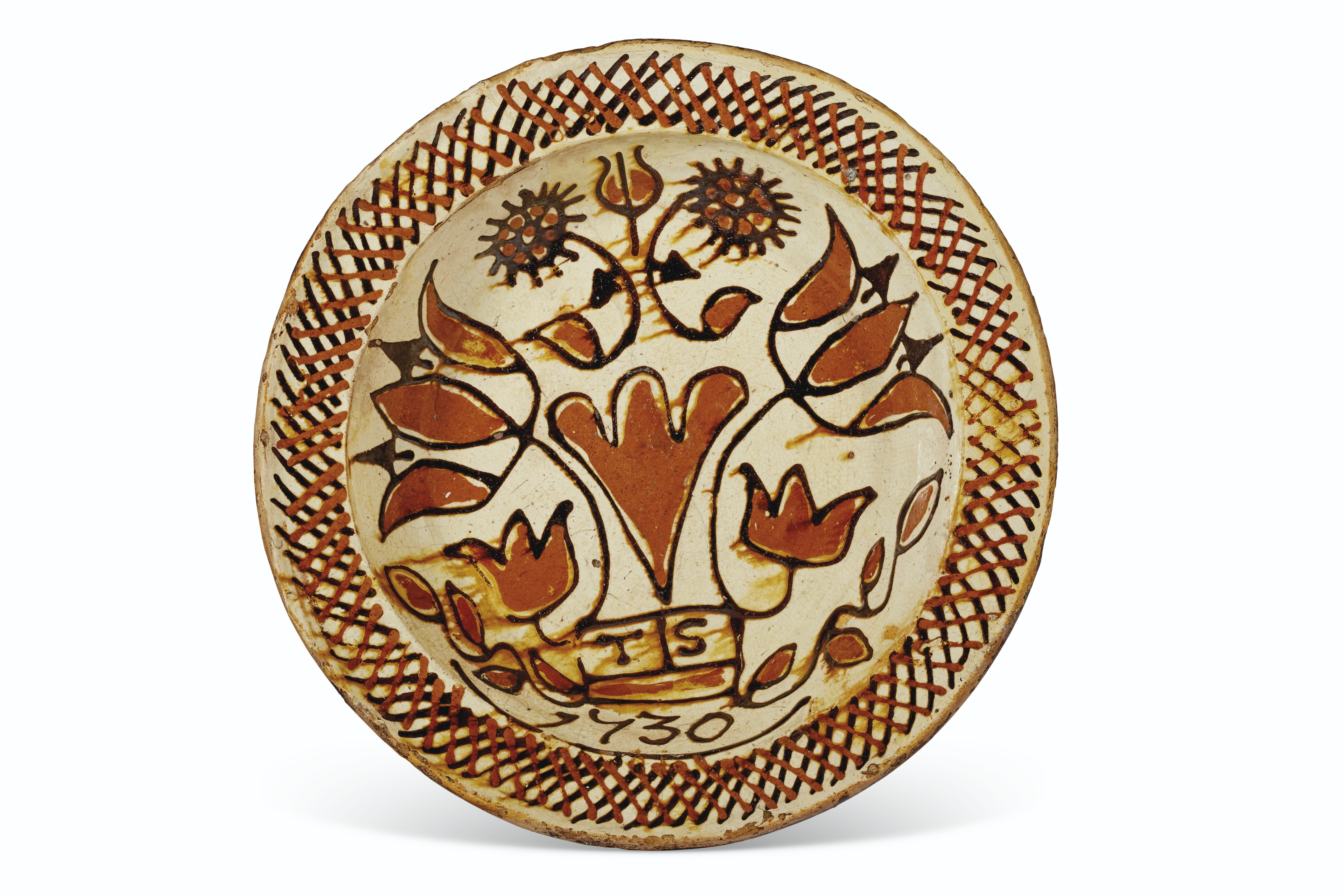 A STAFFORDSHIRE SLIPWARE DATED AND INTIALED DISH