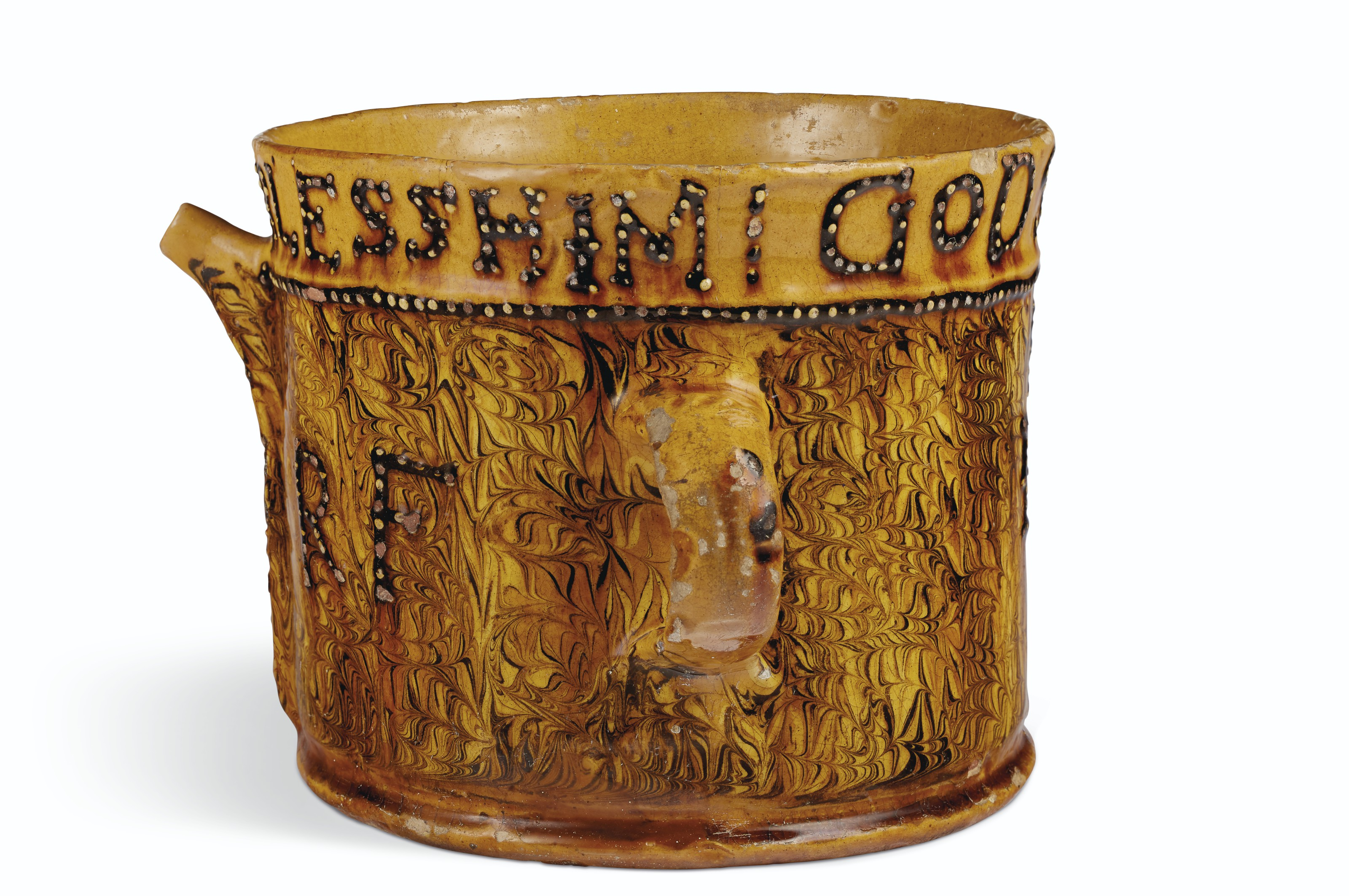 A STAFFORDSHIRE SLIPWARE DATED AND INITIALED POSSET-POT