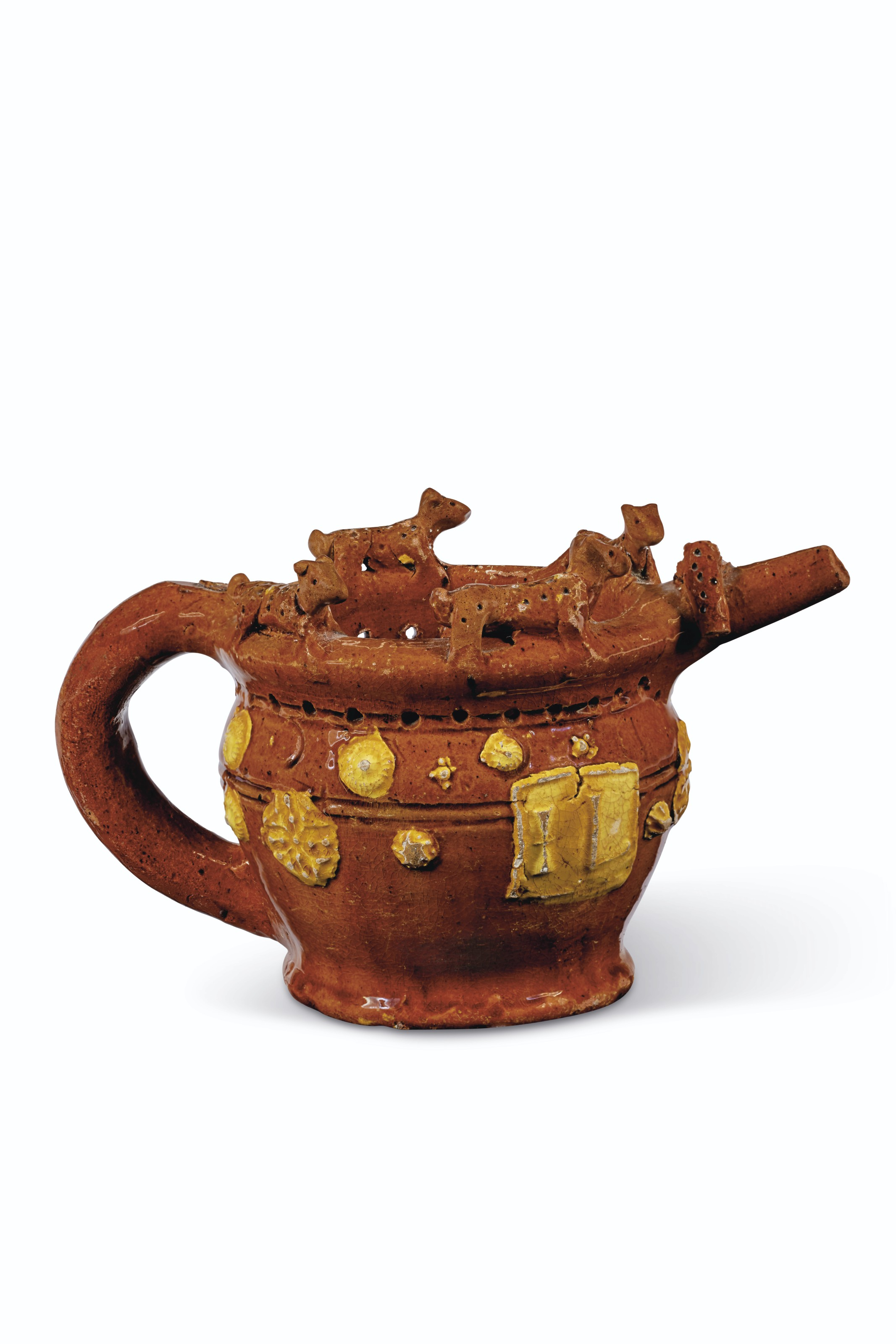 A WROTHAM SLIPWARE DATED AND INITIALED PUZZLE-JUG