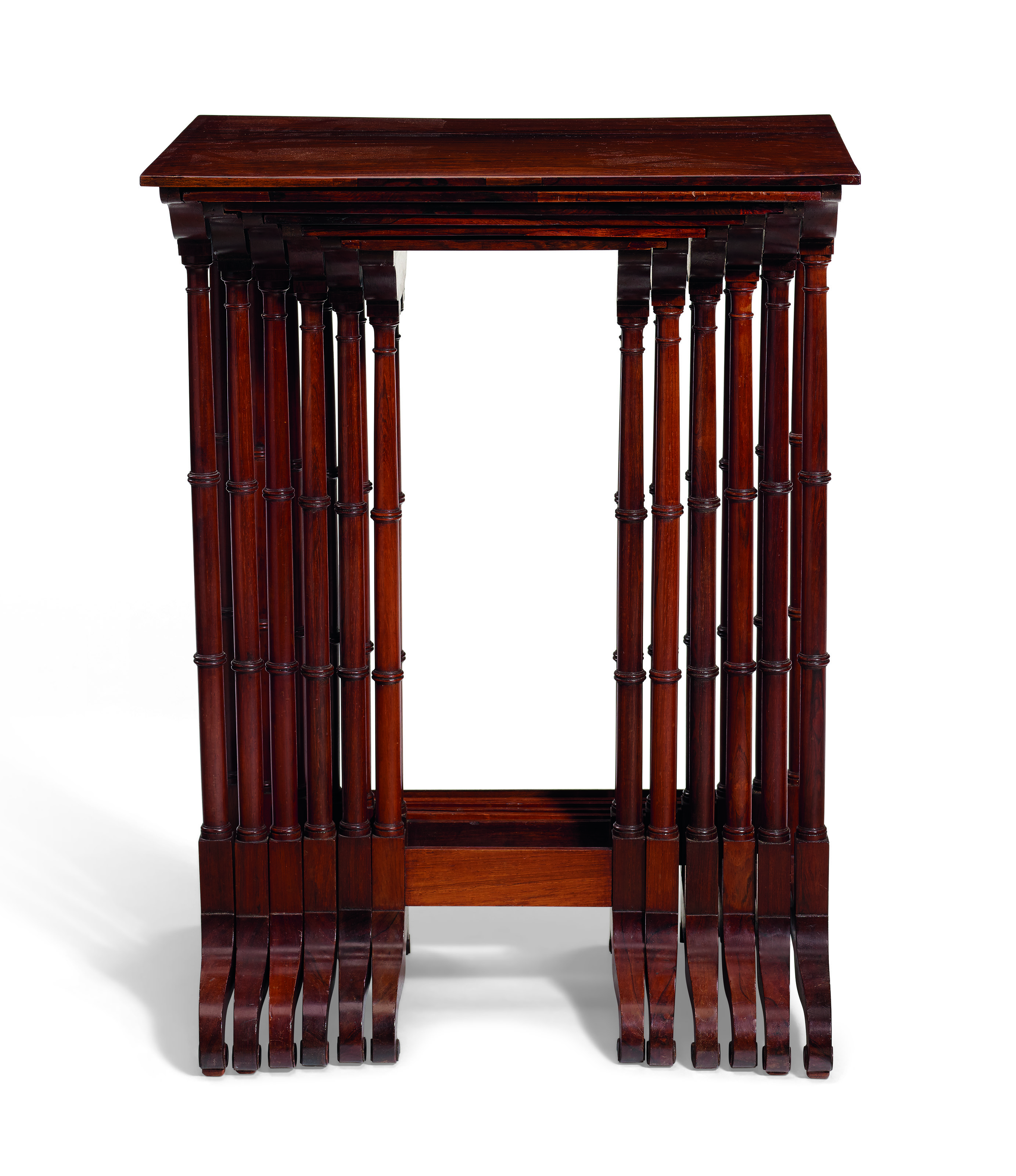THE JOHN L. MANNING SET OF SIX CLASSICAL ROSEWOOD NESTING TABLES