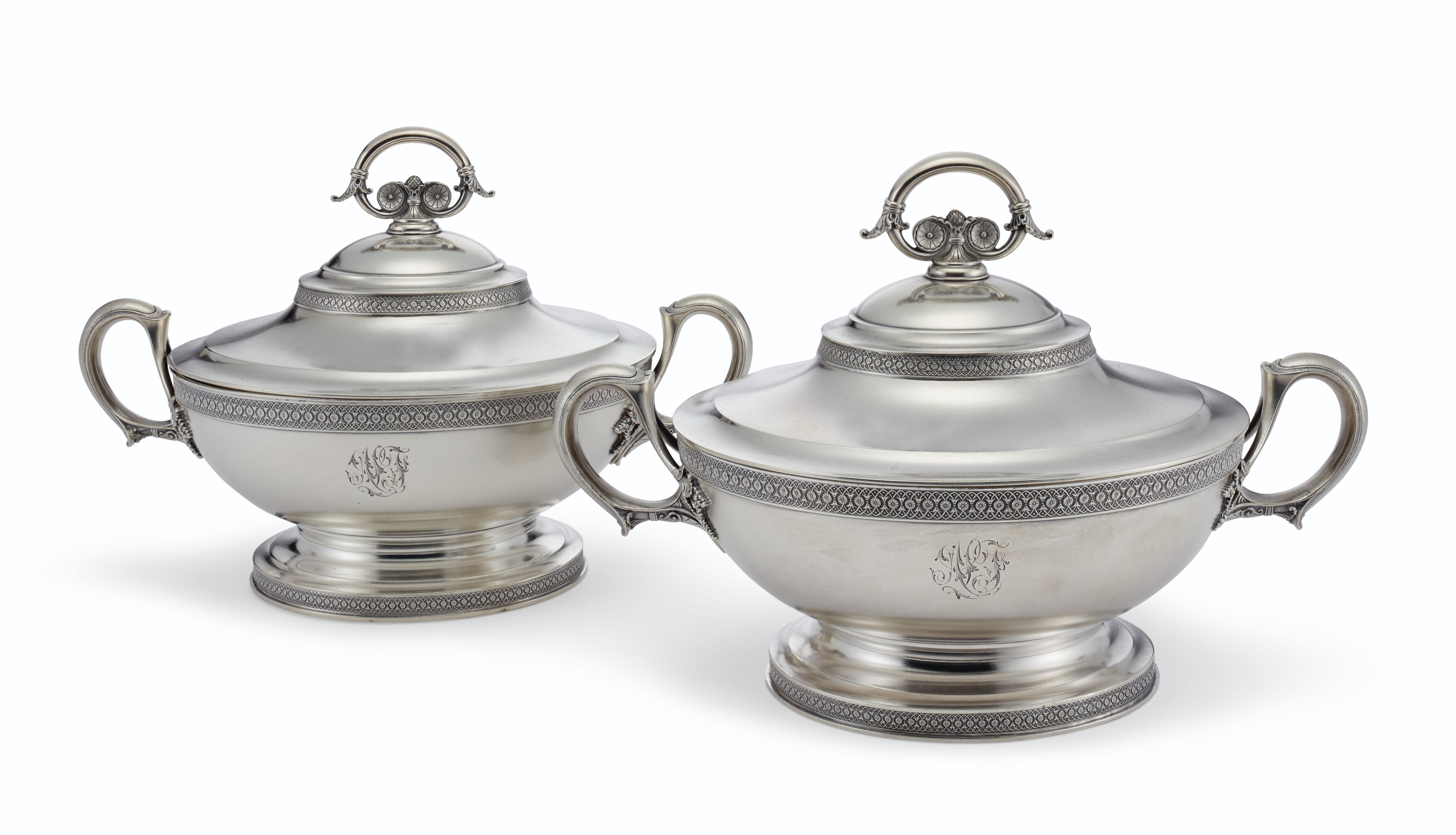 A PAIR OF AMERICAN SILVER TWO-HANDLED VEGETABLE TUREENS AND COVERS