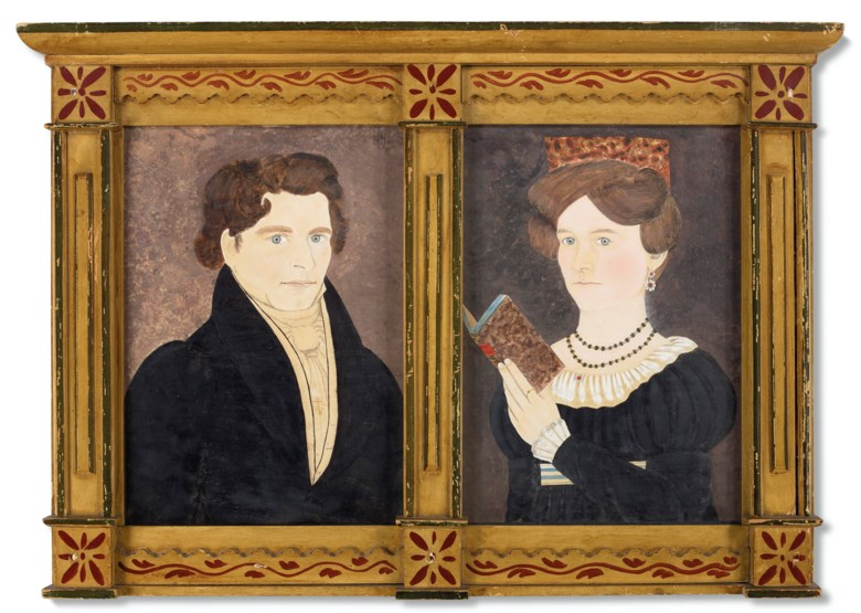 Samuel Addison Shute (1803-36), possibly in collaboration with Ruth Whittier Shute (1803-82), A Pair of Portraits of Silas and Rebecca Sherman. Watercolour, pen and ink on paper, together in a paint-decorated yellow and red frame. 14 x 10 in each. Estimate $30,000-50,000. Offered in In Praise of America Important American Furniture, Folk Art, Silver, Prints and Broadsides on 22 January 2021 at