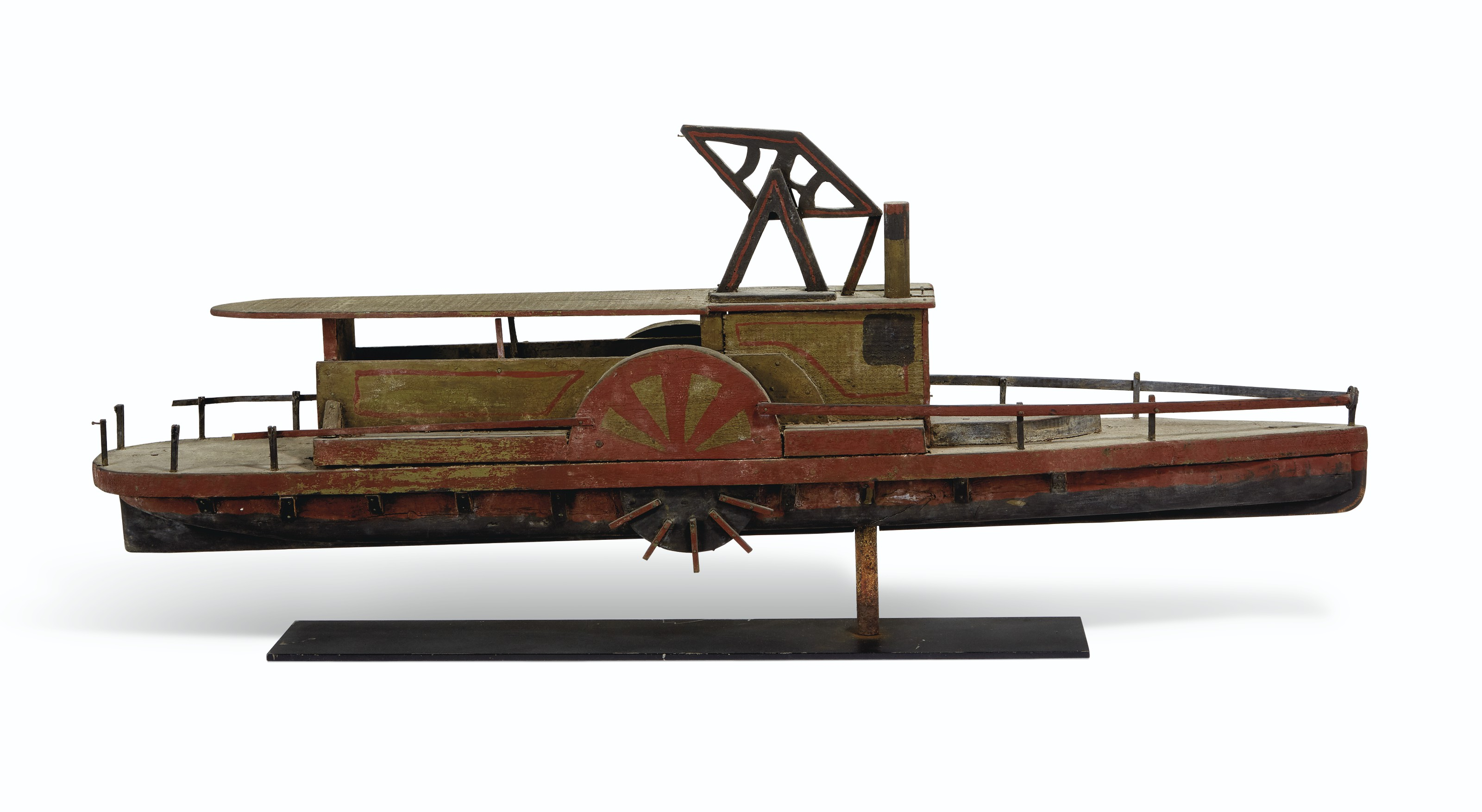 A CARVED AND PAINTED HUDSON RIVER PADDLE WHEELER TRADE SIGN