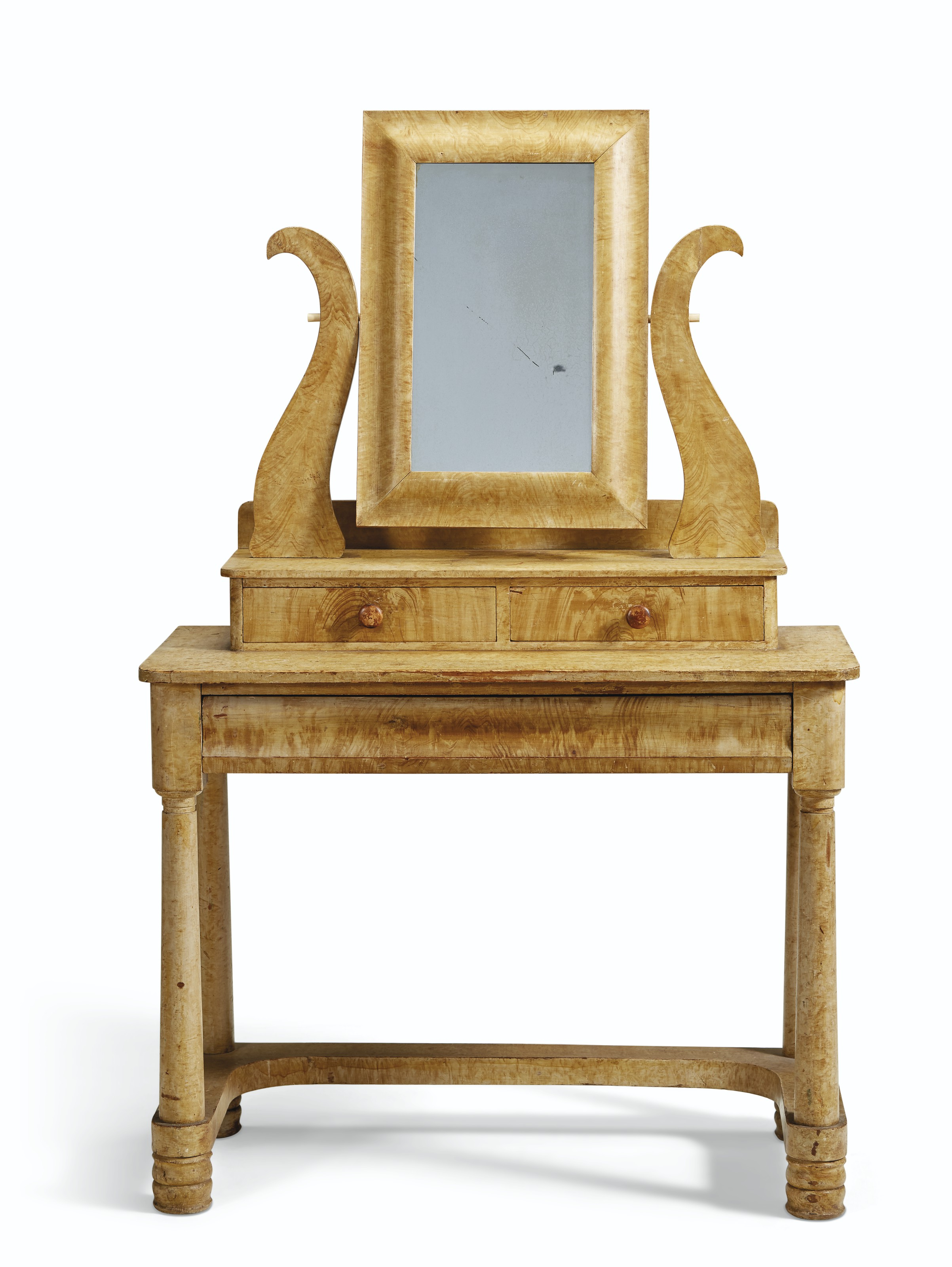 A GRAIN-PAINTED PINE DRESSING TABLE WITH LYRE-FORM MIRROR HOLDER