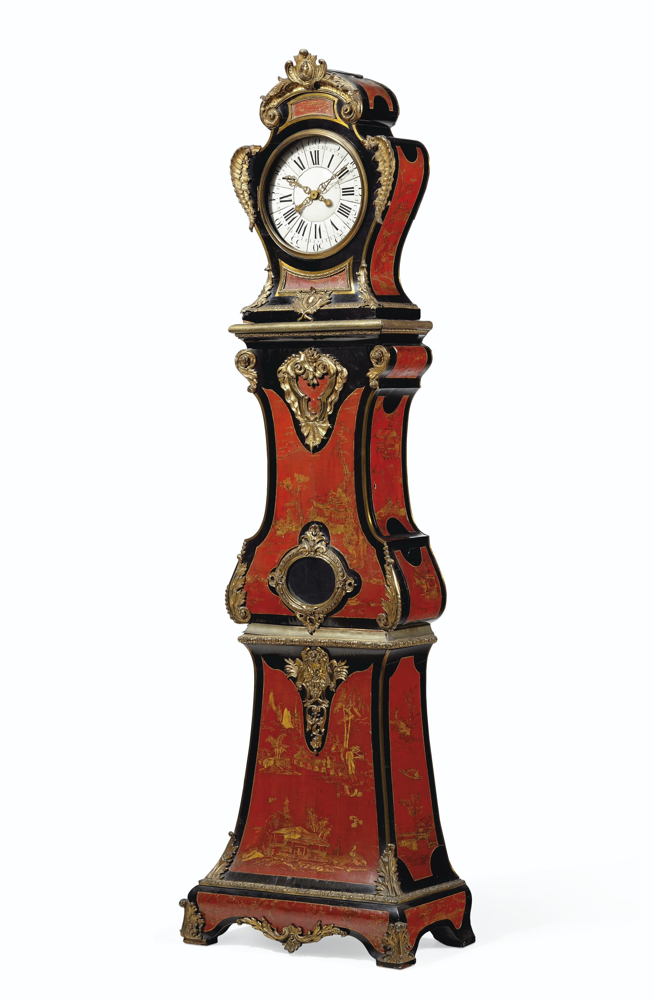 A LOUIS XV ORMOLU-MOUNTED RED AND GILT CHINESE LACQUER AND EBONIZED REGULATEUR