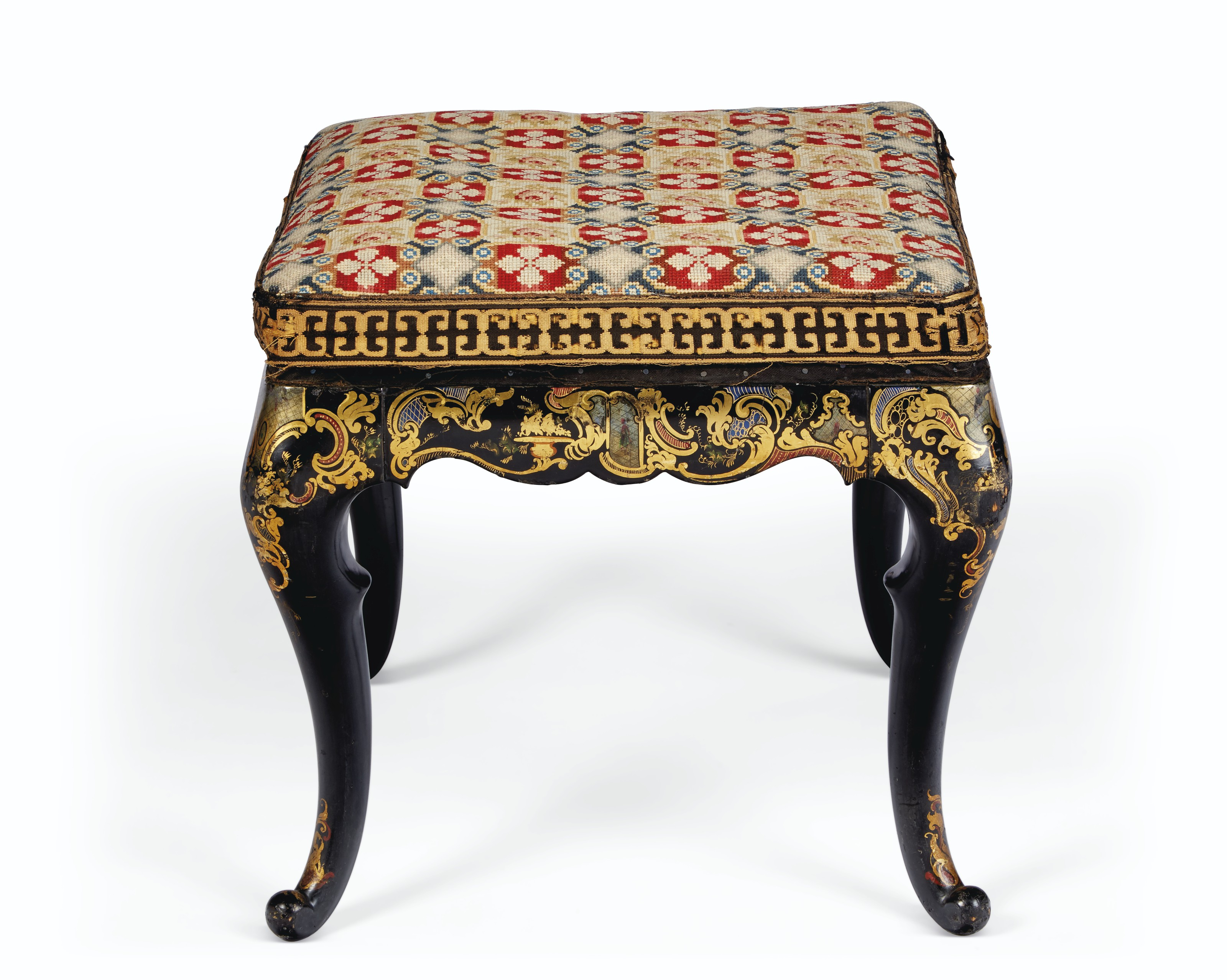 A NAPOLEON III BLACK, GILT AND POLYCHROME-DECORATED STOOL