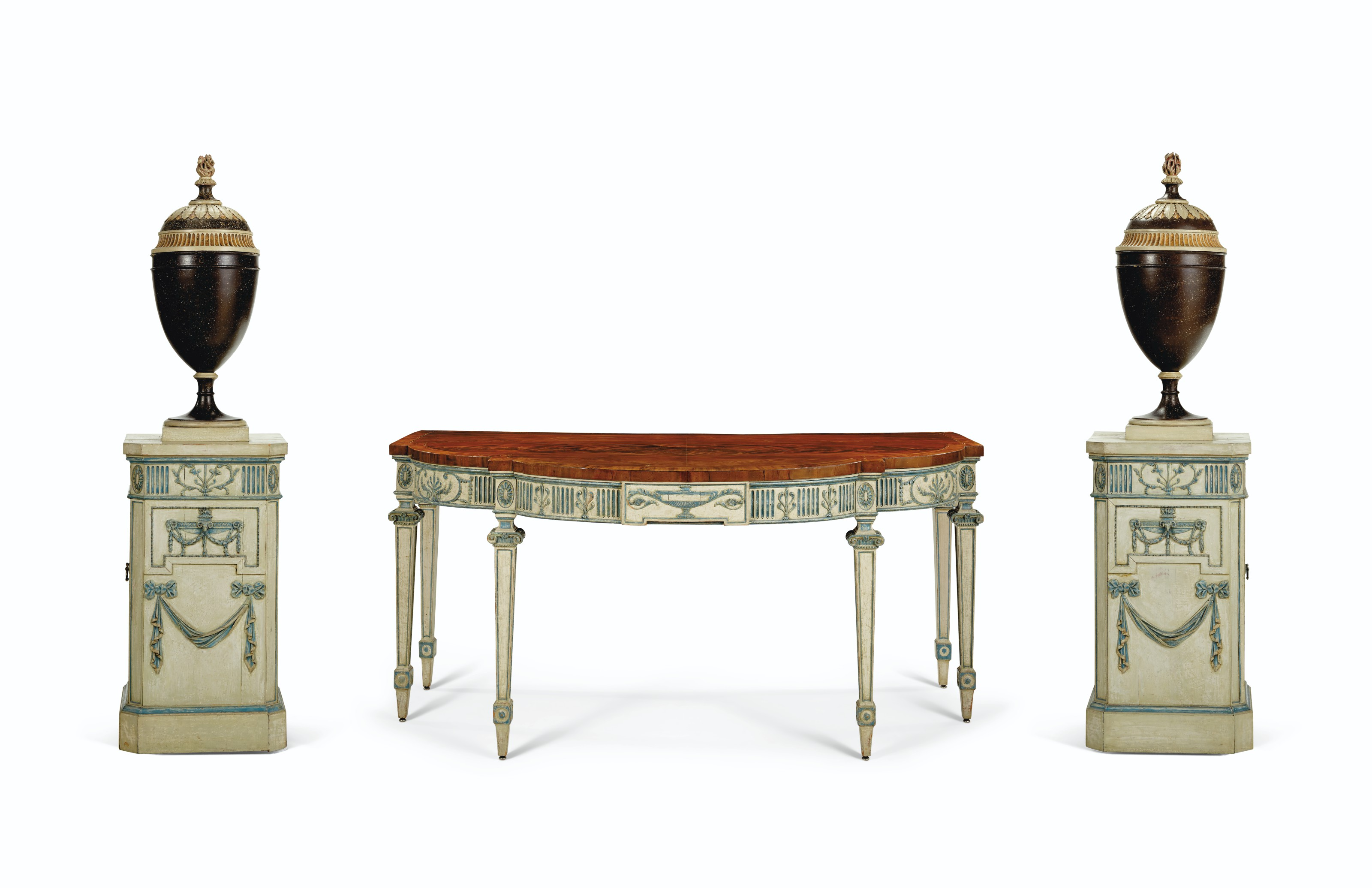 A SUITE OF GEORGE III CREAM AND BLUE-PAINTED MAHOGANY DINING ROOM FURNITURE
