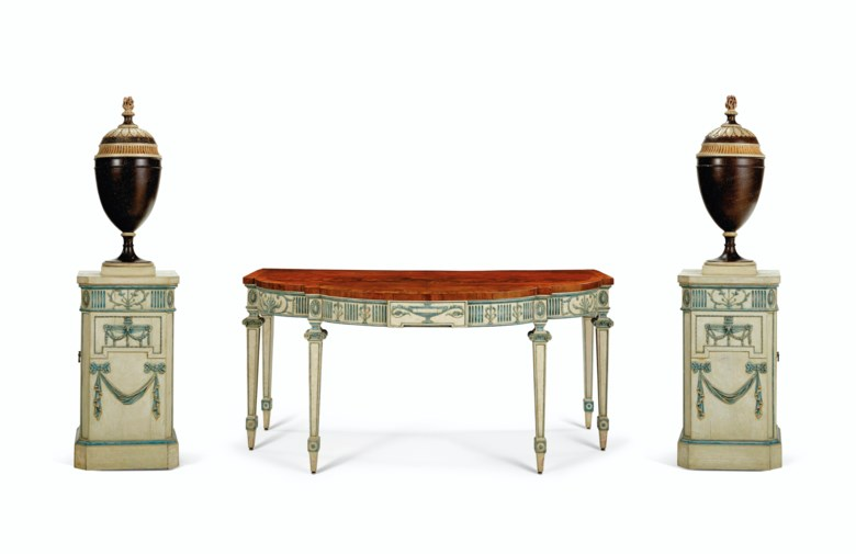 A suite of George III cream- and blue-painted mahogany dining room furniture by Ince and Mayhew, c. 1775. Estimate $80,000-120,000. Offered in The Collection of Mr. and Mrs. John Gutfreund 834 Fifth Avenue on 26 January at Christie's in New York