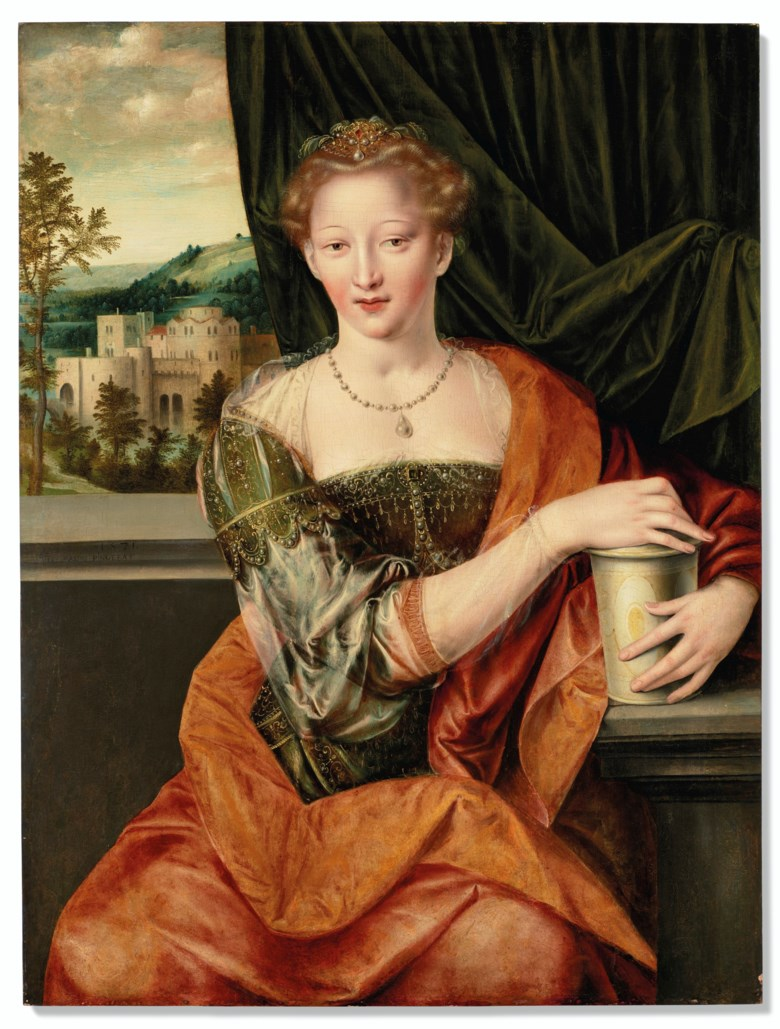 Jan Massys (Antwerp c. 1509-75), Mary Magdalene, 1571. Oil on panel. Unframed 37¼ x 28 in (95 x 71.3 cm). Estimate $120,000-180,000. Offered in The Collection of Mr. and Mrs. John Gutfreund 834 Fifth Avenue on 26 January at Christie's in New York