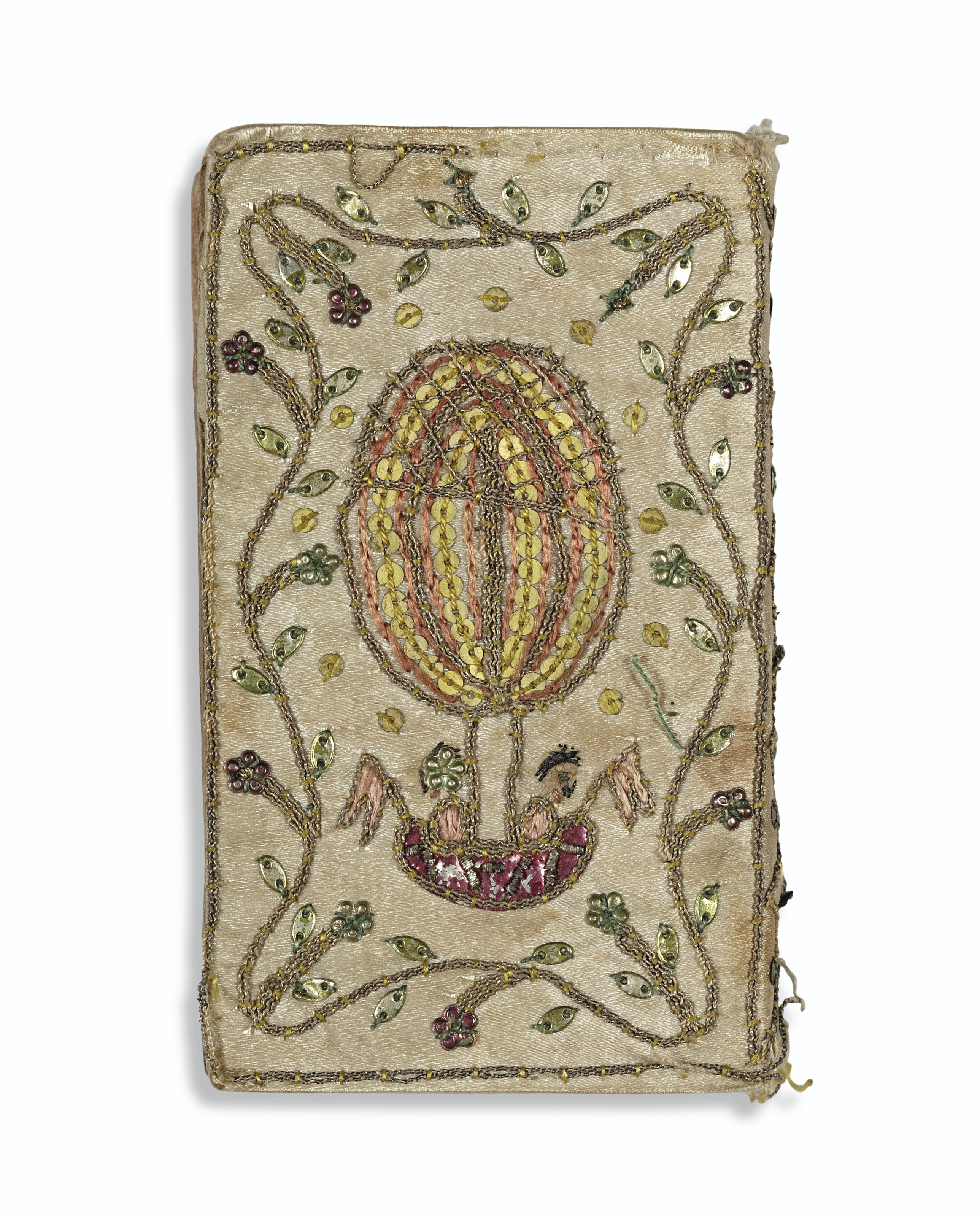 MINIATURE BOOKS – 10 miniature books bound in white silk with embroideries and drawings. Paris and Liege, 1768-1803.