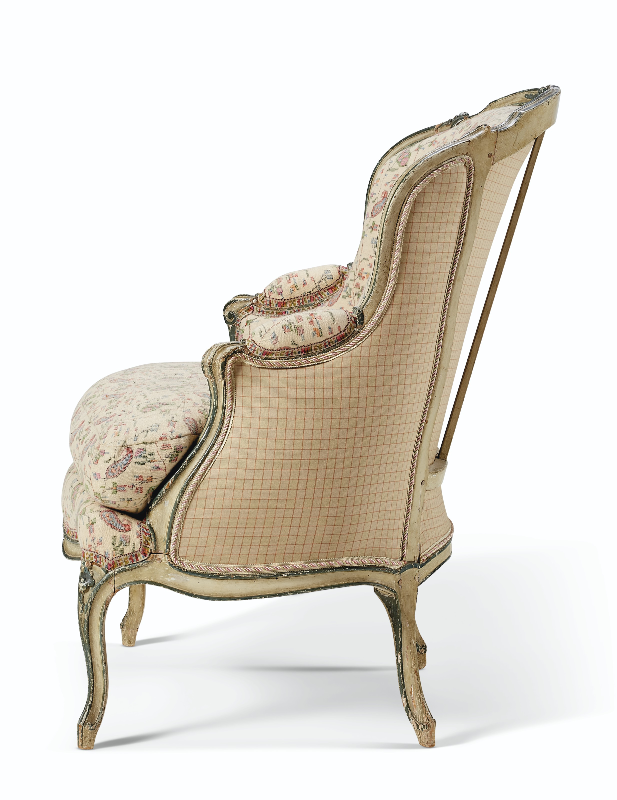A LOUIS XV GREEN AND WHITE-PAINTED BERGÈRE