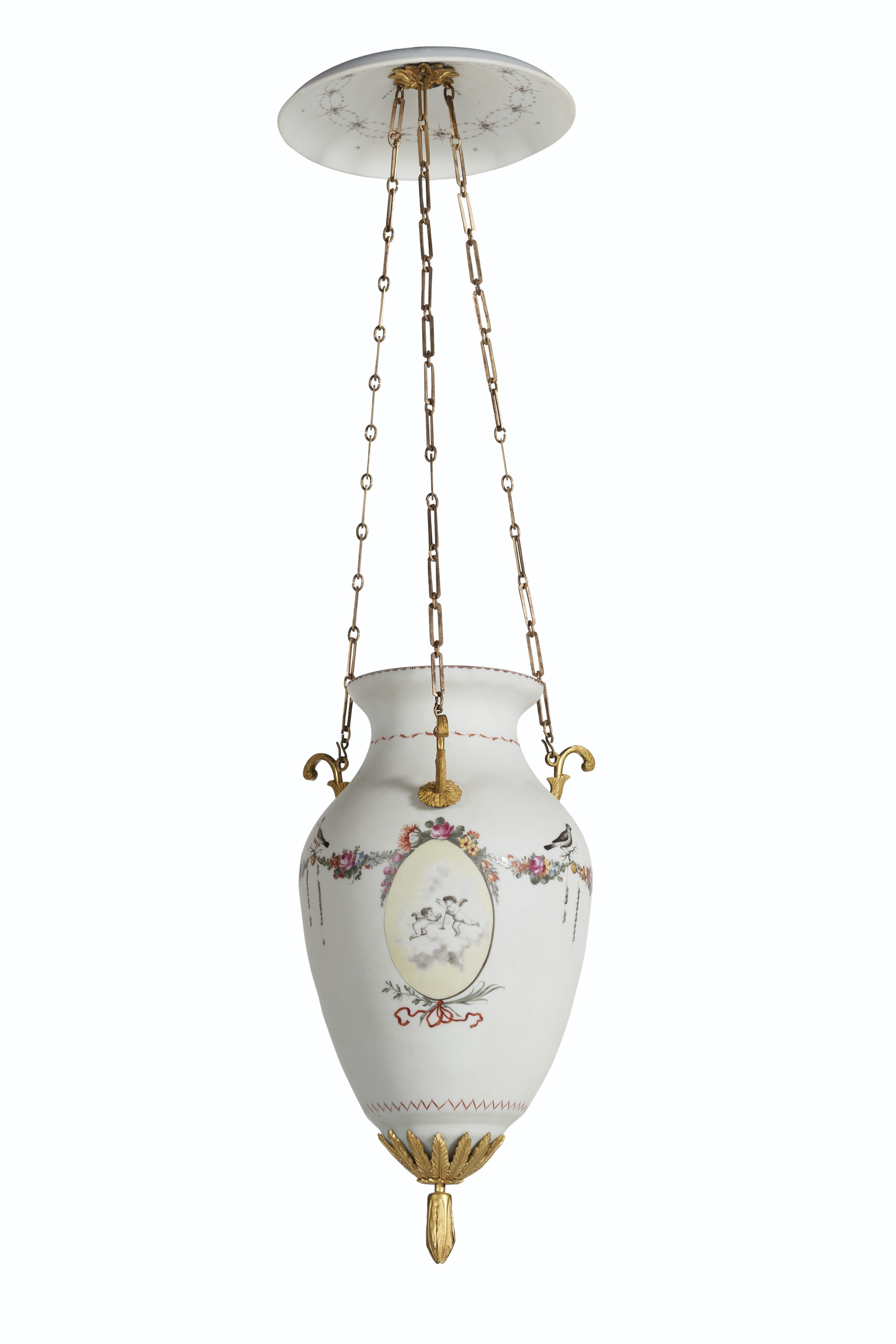 A FRENCH ORMOLU-MOUNTED OPALINE GLASS CHANDELIER
