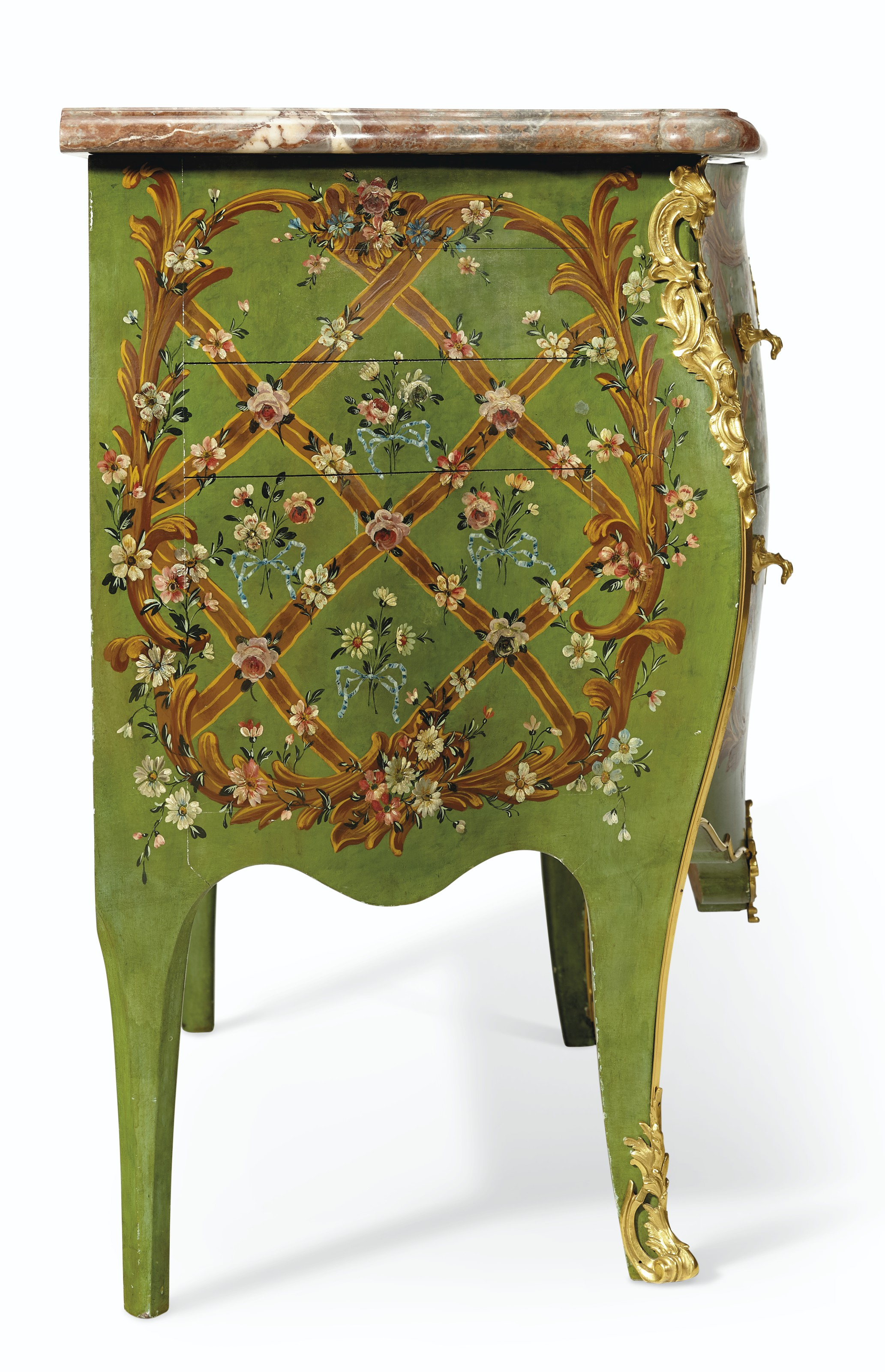 A FRENCH ORMOLU-MOUNTED GREEN AND POLYCHROME-PAINTED VERNIS MARTIN COMMODE