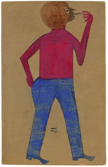 Bill Traylor (circa 1853-1949), Red-Eyed Man Smoking, 1939-1942. Tempera and graphite on repurposed card. 13¼ x 8¾ in (33.7 x 22.2 cm). Estimate $30,000-50,000. Offered in Outsider and Vernacular Art on 21 January 2021 at Christie's in New York