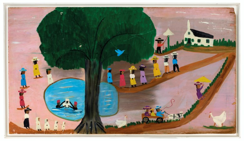 Clementine Hunter (1887-1988), Sunday on Cane River, Louisiana, 1955. Oil on plywood. 32¾ x 59¼ in (83.1 x 150 cm). Estimate $12,000-18,000. Offered in Outsider and Vernacular Art on 21 January 2021 at Christie's in New York