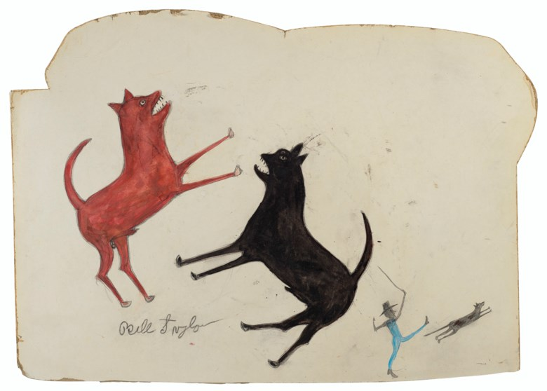 Bill Traylor (circa 1853-1949), Two Dogs Fighting; Man Chasing Dog, 1939-1942. Tempera, graphite and coloured pencils on white paper-faced card. 18 x 25¾ in (45.7 x 65.4 cm). Estimate $100,000-200,000. Offered in Outsider and Vernacular Art on 21 January 2021 at Christie's in New York