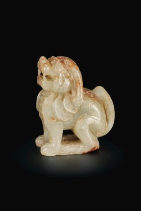 A SMALL PALE GREENISH-GREY JADE FIGURE OF A MYTHICAL BEAST