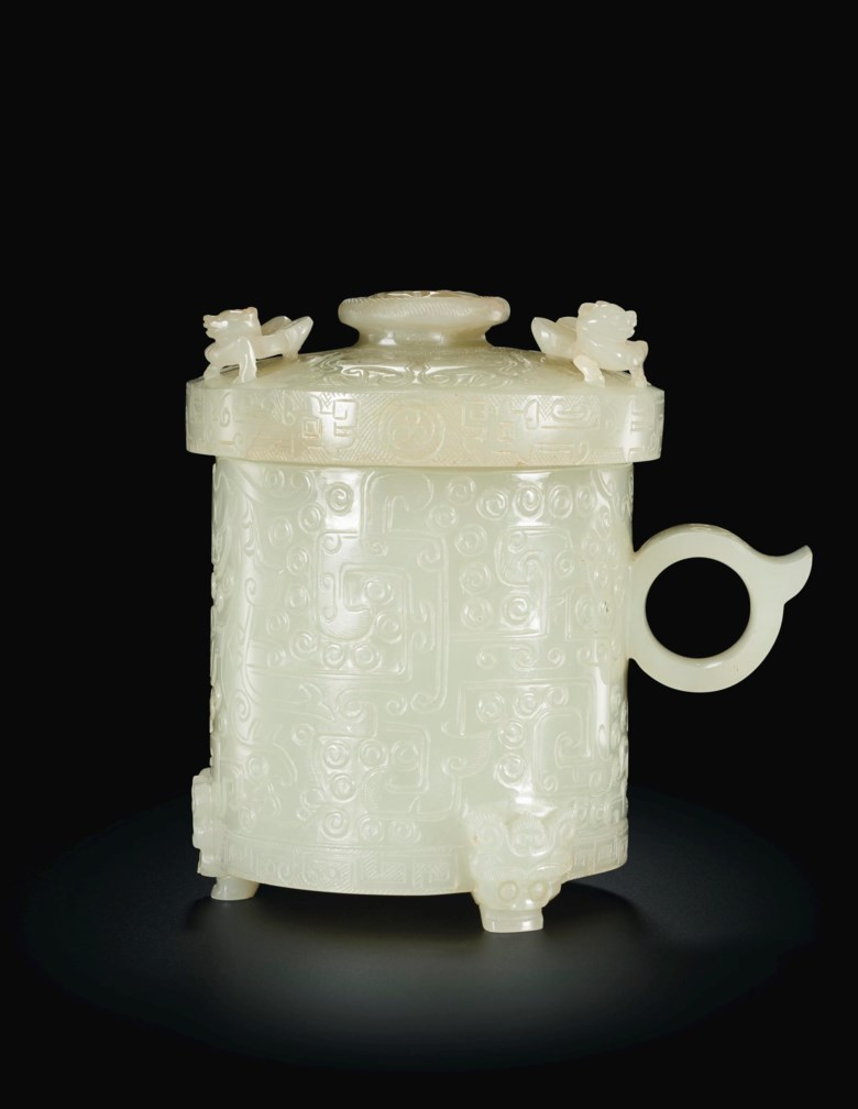 A pale greenish-white jade archaistic footed cup and cover. Late Ming-early Qing dynasty, 16th-18th century. Estimate $50,000-70,000. Offered in Important Chinese Art from the Junkunc Collection on 18 March at Christies New York