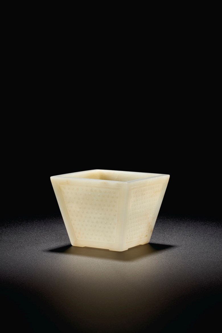 A rare white jade square flower pot. Late Ming dynasty-Kangxi period, 17th-18th century. 4 516 in. (11 cm.) square. Estimate $300,000-500,000.Offered inImportant Chinese Art from the Junkunc Collectionon 18 March at Christies New York