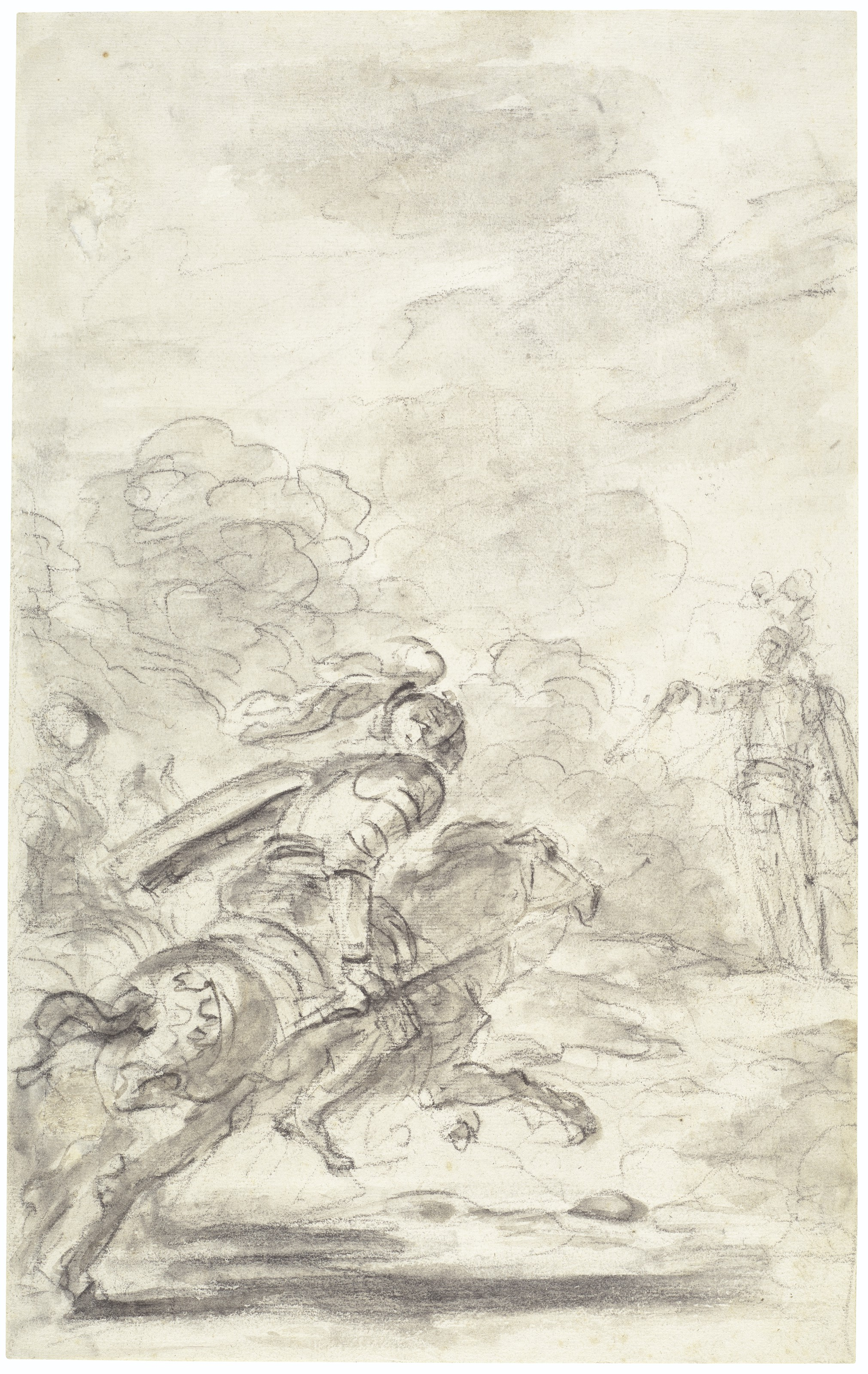 Jean-Honoré Fragonard (1732-1806), Rinaldo ordering Sacripante to give back his horse (Orlando furioso, II, 3-6). Black chalk, brown and grey wash. 15⅛ x 9½ in (38.3 x 24 cm). Estimate $20,000-30,000. Offered in Old Master and British Drawings, 14-26 January 2021, Online