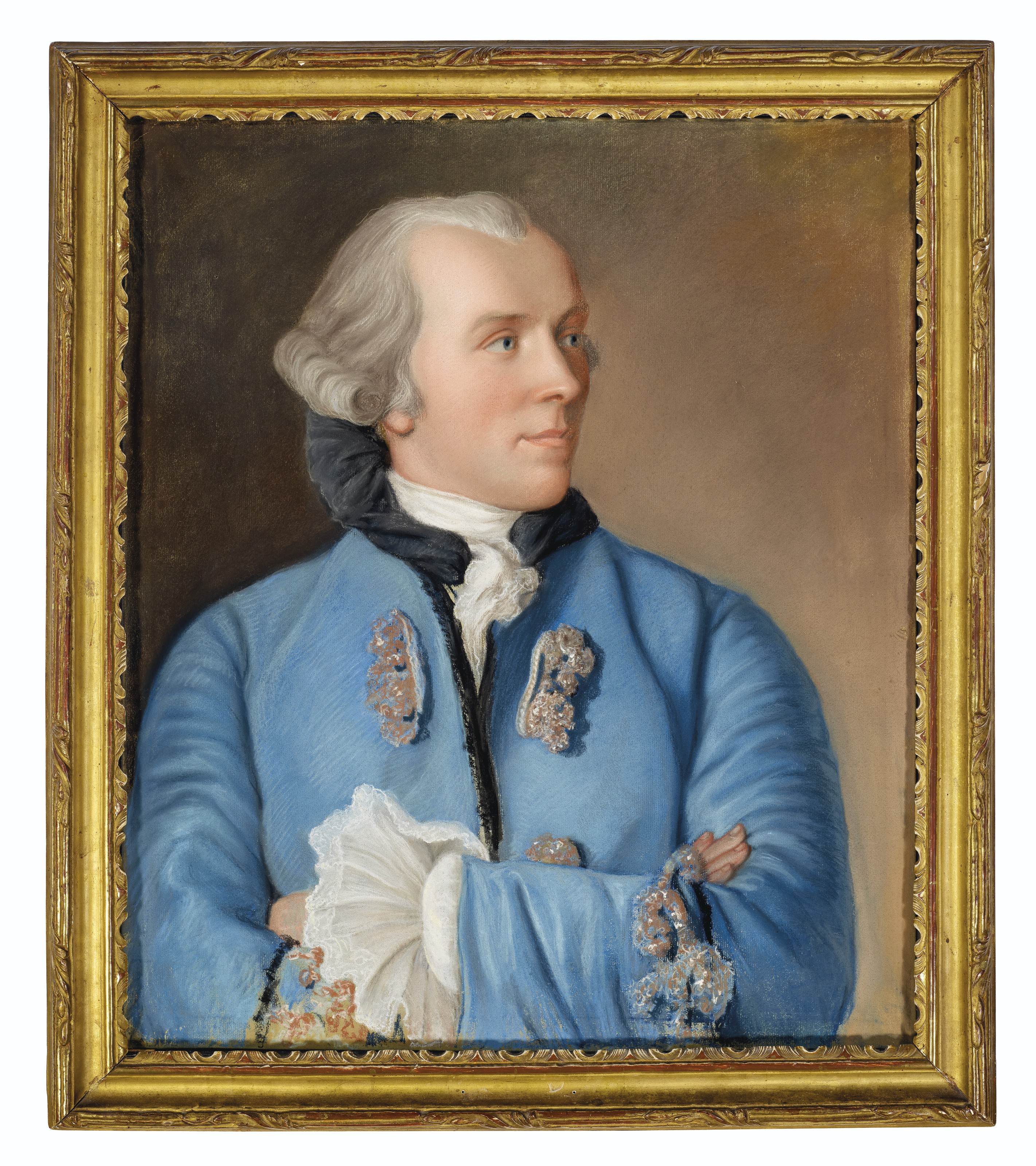 Jean-Etienne Liotard (1702-89), Portrait of Philibert Cramer, circa 1758. Pastel on blue paper, mounted on canvas. 25 x 21¼ in (63.5 x 53.8 cm). Offered in Old Master & British Drawings including property from The Cornelia Bessie Estate,14-28 January 2021, Online
